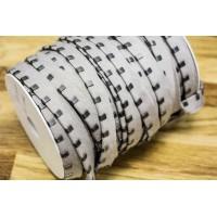 Кант с металлическими зажимами (светло-серая ткань, состаренный никель, cotton, металл, шир. 15 мм)